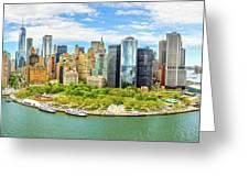 Aerial Panorama Of Downtown New York Skyline Greeting Card