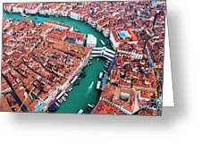 Aerial View Of Grand Canal And Rialto Bridge, Venice, Italy Greeting Card