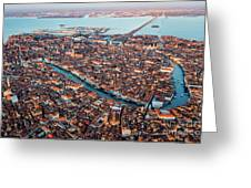 Aerial View Of Grand Canal, Venice, Italy Greeting Card