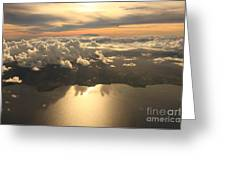 Aerial View Sunset Over Antigua In The Greeting Card