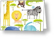 African Animals Fun Cartoon Clip Art Greeting Card