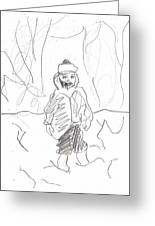After Billy Childish Girl Pencil Drawing B2-16 Greeting Card