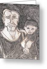After Billy Childish Pencil Drawing 19 Greeting Card