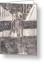 After Billy Childish Pencil Drawing 24 Greeting Card
