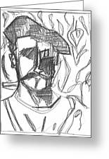 After Billy Childish Pencil Drawing B2-4 Greeting Card