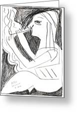 After Mikhail Larionov Pencil Drawing 1 Greeting Card