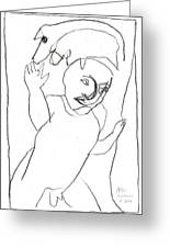After Mikhail Larionov Pencil Drawing 16 Greeting Card