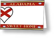Alabama State License Plate Greeting Card