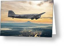 Alaska Airlines Dc-3 Over Seattle Greeting Card