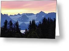 Alaska's Kenai Mountains At Dawn Greeting Card