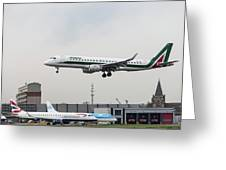 Alitalia Embraer 190 Bird Near Miss Greeting Card