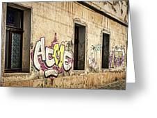 Alley Graffiti And Windows - Romania Greeting Card