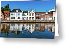 Along The Canal. Flanderenfietsroute.   Greeting Card