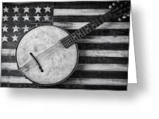 American Banjo Black And White Greeting Card