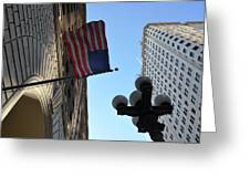 American Flag Downtown La Greeting Card