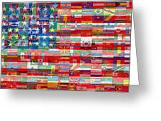 American Flags Of The World Greeting Card