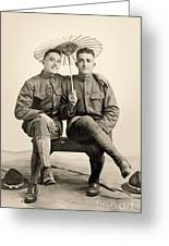 American Soldiers With A Parasol Circa 1915 Greeting Card