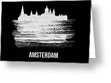 Amsterdam Skyline Brush Stroke White Greeting Card