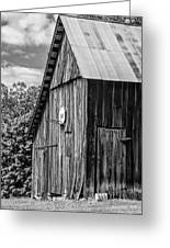 An American Barn Bw Greeting Card