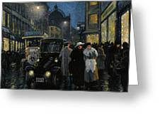 An Evening Stroll On The Boulevard Greeting Card