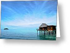 An Exclusive Resort Bungalow Over A Calm Tropical Sea. Greeting Card