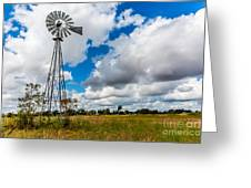 An Old Vintage Windmill Used To Pump Greeting Card