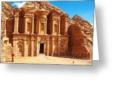 Ancient Temple In Petra, Jordan Greeting Card