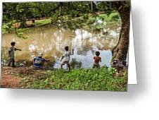 Angkor Fishing Family Greeting Card