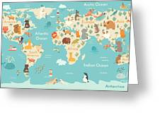 Animals World Map For Children, Kids Greeting Card