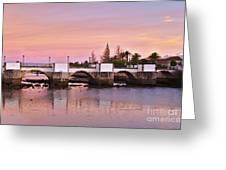 Antique Bridge Of Tavira During Twilight. Portugal Greeting Card