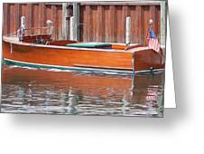 Antique Wooden Boat By Dock 1302 Greeting Card by Rick Veldman