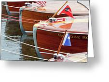 Antique Wooden Boats In A Row Portrait 1301 Greeting Card by Rick Veldman