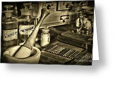 Apothecary-vintage Pill Roller Sepia Greeting Card