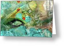 Aqua And Yellow Abstract Art - Juxtaposition - Sharon Cummings Greeting Card