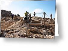 Arabic Ruins At Tall Hasban Greeting Card by Mae Wertz