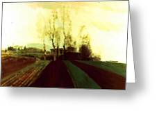 Arable Land Corridors In The Early Spring Greeting Card