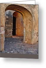 Arches Of A Medieval Castle Entrance In Algarve Greeting Card