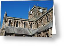 architecture of Hexham cathedral and clock tower Greeting Card