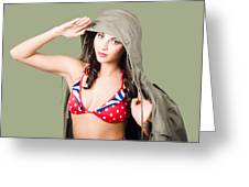 Army Pinup Saluting Retro Fashion In 1940 Style Greeting Card