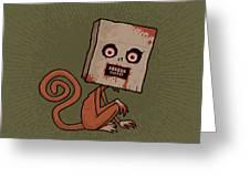 Psycho Sack Monkey Greeting Card