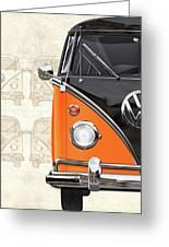 Volkswagen Type 2 - Black And Orange Volkswagen T1 Samba Bus Over Vintage Sketch  Greeting Card