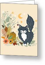 Autumn Garden Moonlit Kitty Cat Greeting Card