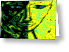 Two Faces - Green - Female Greeting Card