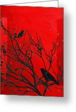Raven - Black Over Red Greeting Card