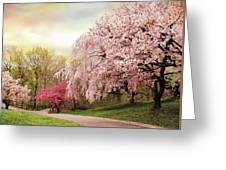 Asian Cherry Grove Greeting Card