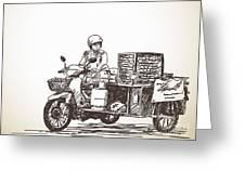 Asian Street Food On Motorbike, Hand Greeting Card