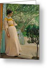 At The French Windows. The Artist's Wife Greeting Card