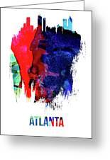 Atlanta Skyline Brush Stroke Watercolor   Greeting Card