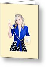 Attractive Blond Female Secretary On Vintage Phone Greeting Card
