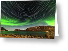 Aurora Borealis With Startrails Greeting Card